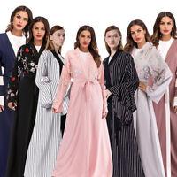 Dubai Open Cardigan Women Muslim Maxi Kaftan Dress Islam Abaya Gown Arab Jilbab