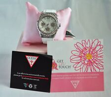Guess Women's Accented Pink Crystal  White Dial Silicon Strap Watch W0032L6 NWT