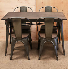 More details for new tolix 4 four metal chair large table dining set retro french bistro bar cafe