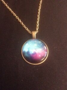 Vintage Style Gold Blue/Purple Swirly Pendant Necklace. Women's Cosmic Jeweleery