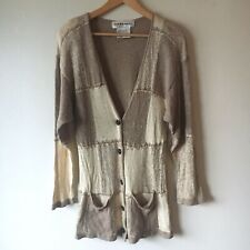 Carducci M Cardigan Silk Angora Rabbit Hair Patchwork Color Block Button Sweater