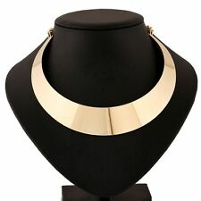 Gothic Mirrored Metal Gold Plated Wide Punk Collar Rock Style Necklace Choker