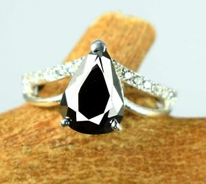 5.54 Ct Pear  Black Diamond Solitaire Halo Proposal Ring