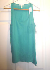 AMBIANCE APPAREL Size S Teal Tank Top Racerback Sleeveless Chest Pocket Womens