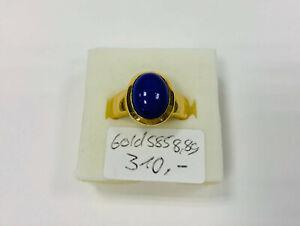 Ring Gold 585, mit blauen Stein, 8,8g, Ringgröße 56 (42894)