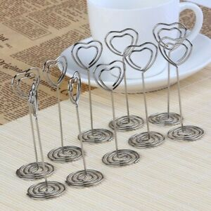 10x Heart Photo Clip Holder Number Place Card Name Note Memo Wedding Table Decor
