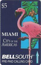 TK 91 Telephonkarte/Phone Card Bell South Flamingo Miami - City of Americas 5$