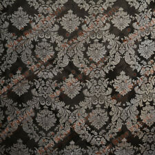Damask Flocked Taffeta Fabric 58 inches width sold by the yard Black / White