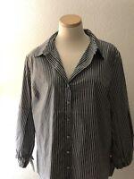NWT Anne Klein Long-sleeve Stripped Button Down Top (size XL)
