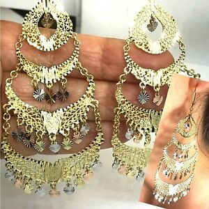"""GOLD chandelier earring 14k solid Real White Yellow Rose Gypsy Long BIG 3.75"""""""
