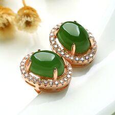 Women jewelry Ear Pin stud Earrings Green Jade 925 sterling silver 18K gold GIFT