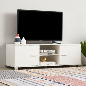 """White TV Stand Cabinet Unit 2 Door Cupboard Entertainment 120cm for 22""""-49"""""""