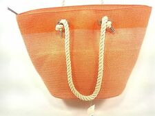 MAGID TWO TONE LARGE ROPE TOTE, CORAL/ COMBO, ONE SIZE, NEW WITH TAG