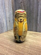 Vintage Russian Nesting Dolls Bear Family Hunting And Fishing Theme B7