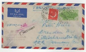 1959 Feb 14th. Air Mail. Fatehabad to Dresden, Germany.