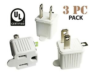 3 Pc   3 to 2 Prong UL Certified Adapter AC Outlet Ground Converter Plug UL