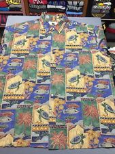 Men's Norm Thompson Short Sleeve Button Hawaiian Shirt 2XL XXL Made In USA EUC