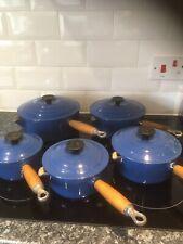 Set of 5 Vintage * LE CREUSET * Blue Saucepans