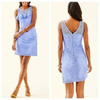 NWT- $168 LILLY PULITZER Janine Shift Dress Blue Peri Flowing Leaf Lace -Size XS