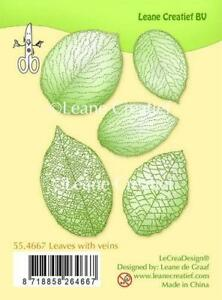 Leane Creatief Clear Stamps - Leaves With Veins - 55.4667 - Cardmaking - NEW
