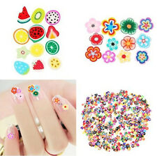 1000PCS 3D Fruit Animals Flower Fimo Slice Clay DIY Nail Art Tip Sticker Decor