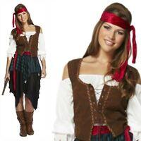 Adult Ladies Buccaneer Caribbean Pirate Lady Fancy Dress Costume Outfit Captain