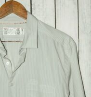 SHIPLEY & HALMOS Men's Button Front Shirt Beige Striped size XL Cotton