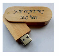 Personalised  wooden laser engraved 16Gb usb stick memory flash drive