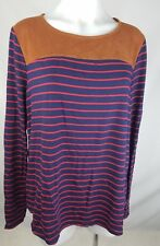 Ella Moss long sleeve top blouse suede accent blue red striped size large