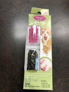 Whisker City/Kitty Nail Caps - Pink Sparkle & Black Sparkle 40 pc. Sz. Large NEW