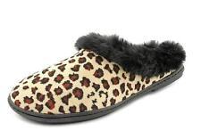 Charter Club Slippers Slip On Scuffs Fur Trim Rubber Sole Animal Print S 5/6 New
