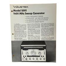 Wavetek Models 2001 Sweep Generators Technical Data Sheet
