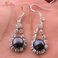 8mm Round Natural Freshwater Pearl Silver Plated CZ Crystal Dangle Hook Earring