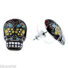 Black Sugar Skull Earrings Day Of The Dead Tattoo Dia De Los Muertos New Aretes