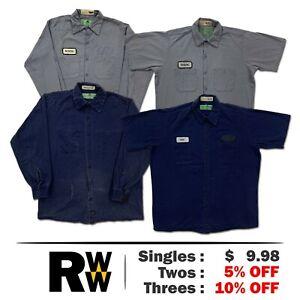 Red Kap Work Shirts 2 Pocket 100% Cotton Short & Long Sleeve Uniform #B