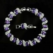 Purple Amethyst Water Drop 925 Sterling Silver Bracelet White Topaz Link Chain