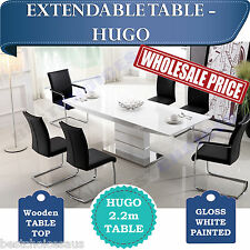 BRAND NEW Luxury Extendable Dining Table White Glossy MDF Dining room - HUGO