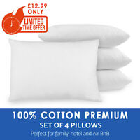 Pack of 4 Pillows 100% COTTON Luxury Bounce Back Hollow Fibre Pillow Pair