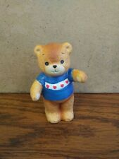 "Vintage Enesco Lucy and Me 1980 Bear Blue Sweater Hearts Ceramic 3.25"" Euc"