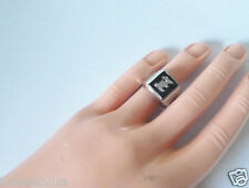 STERLING SILVER BLACK ONYX COLORED INITIAL RING GENUINE ART DECO VINTAGE 7.25