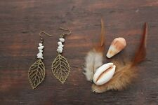 Gorgeous Handmade Bronze Antique Large Leaf & White Agate Stone Chip Earrings