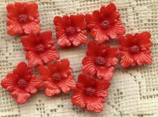 10 VINTAGE JAPAN RED PLASTIC Cabochon FLOWER CABS Ruffled Jewelry findings Lot