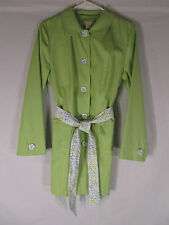 Sigrid Olsen Green w/ Floral Accents Belted Lined Trench Coat Car Coat Size PM