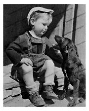 1910s era vintage photo-Little boy on porch with his dog-hat-8x10 in