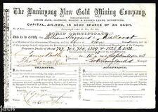 Share Scrip - Gold Mining. 1868 Buninyong New Gold Mining Co. Buninyong Vic