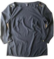 Banana Republic Women's Navy Gold Fittted Blouse Long Sleeve Shirt Size XS EUC