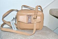 NWT $248 COLE HAAN Savannah Crossbody Handbag Nude Camel Snakeskin M