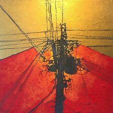 Oil Painting by Leo Charre - Cadmium Red and Gold Paint Powerlines 12x12 on wood