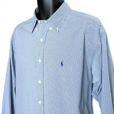 Ralph Lauren Blake Mini Check Long Sleeve Shirt Mens XL Button-Front Purple Pony
