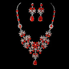 Silver Plated Crystal Necklace Earrings Bridal Wedding Jewelry Set Gift Red